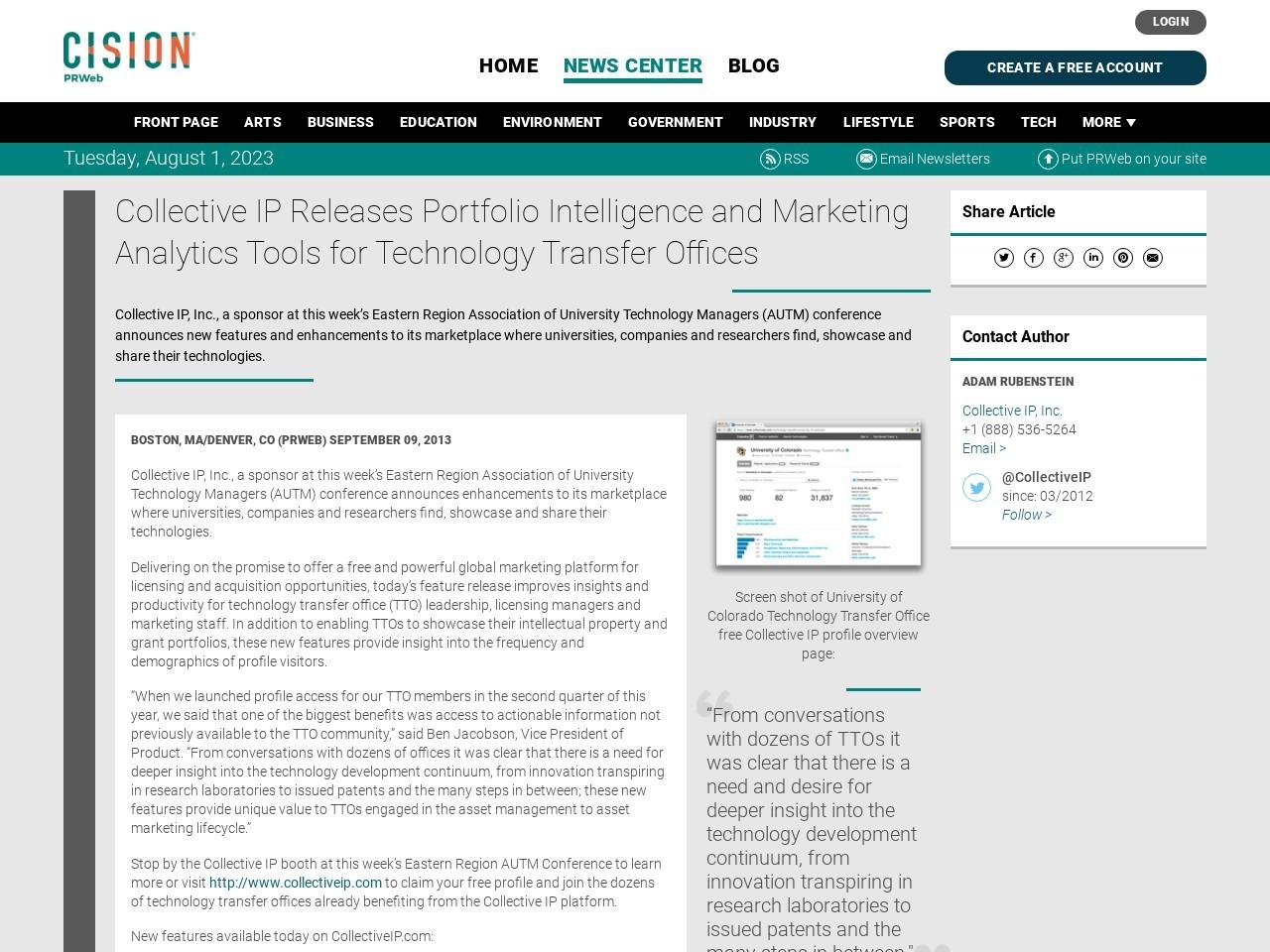 Collective IP Releases Portfolio Intelligence and Marketing Analytics Tools …