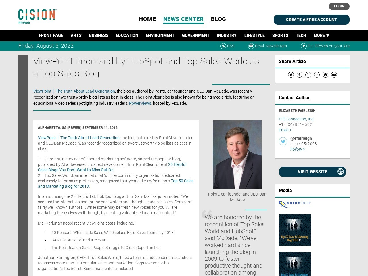 ViewPoint Endorsed by HubSpot and Top Sales World as a Top Sales Blog