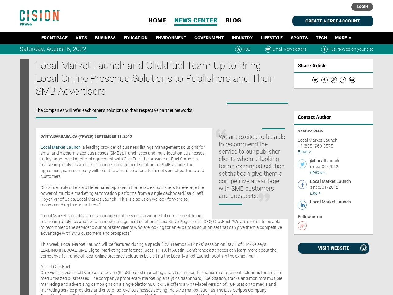 Local Market Launch and ClickFuel Team Up to Bring Local Online Presence …