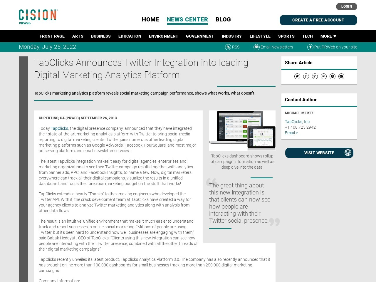 TapClicks Announces Twitter Integration into leading Digital Marketing …