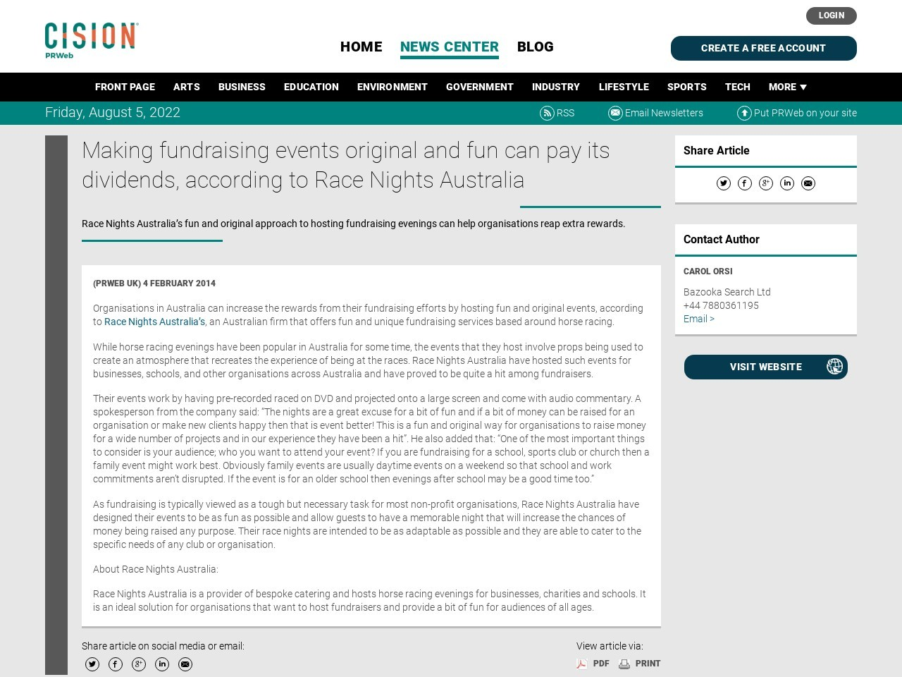 Making fundraising events original and fun can pay its dividends, according to …