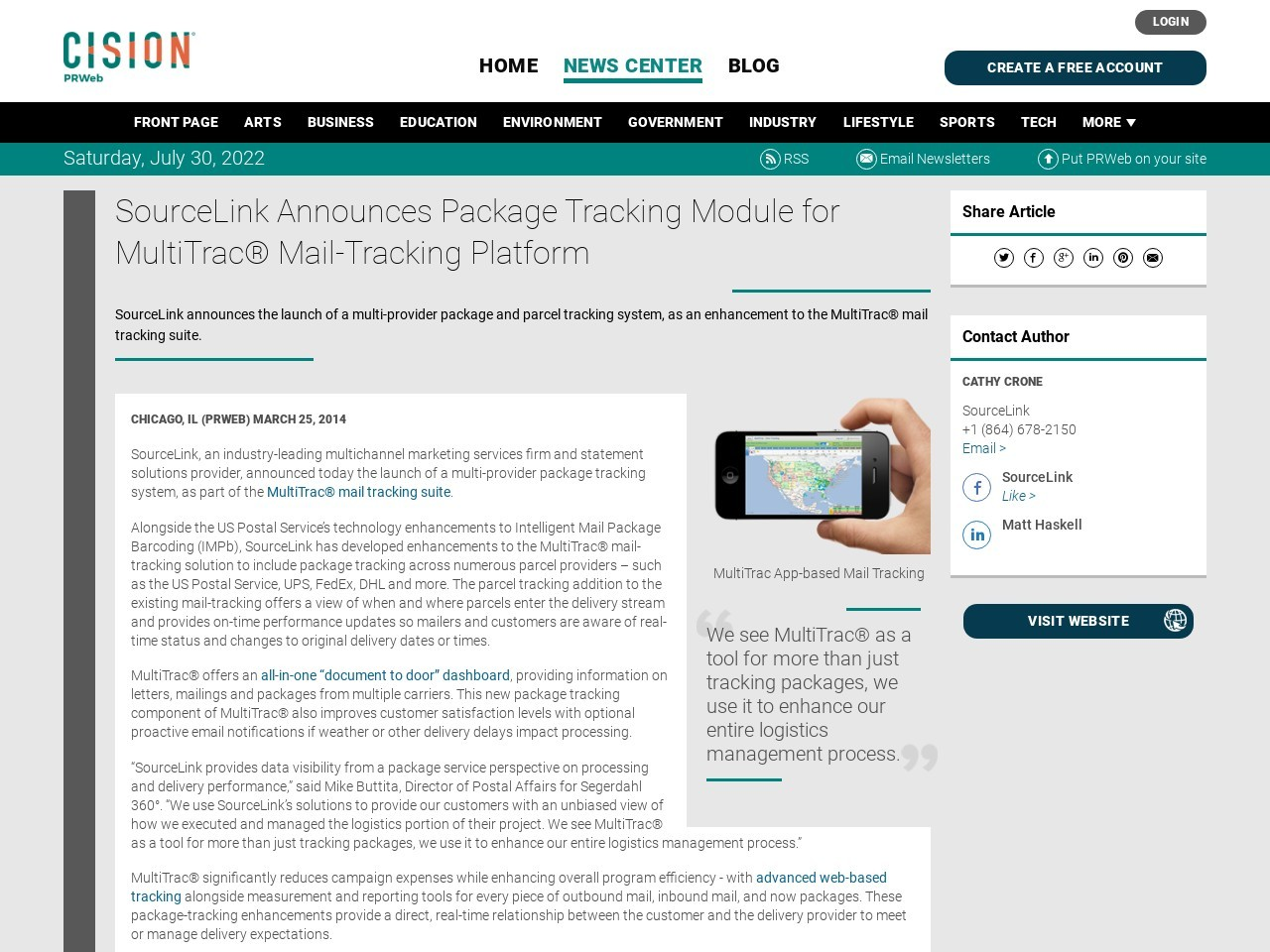 SourceLink Announces Package Tracking Module for MultiTrac® Mail-Tracking …