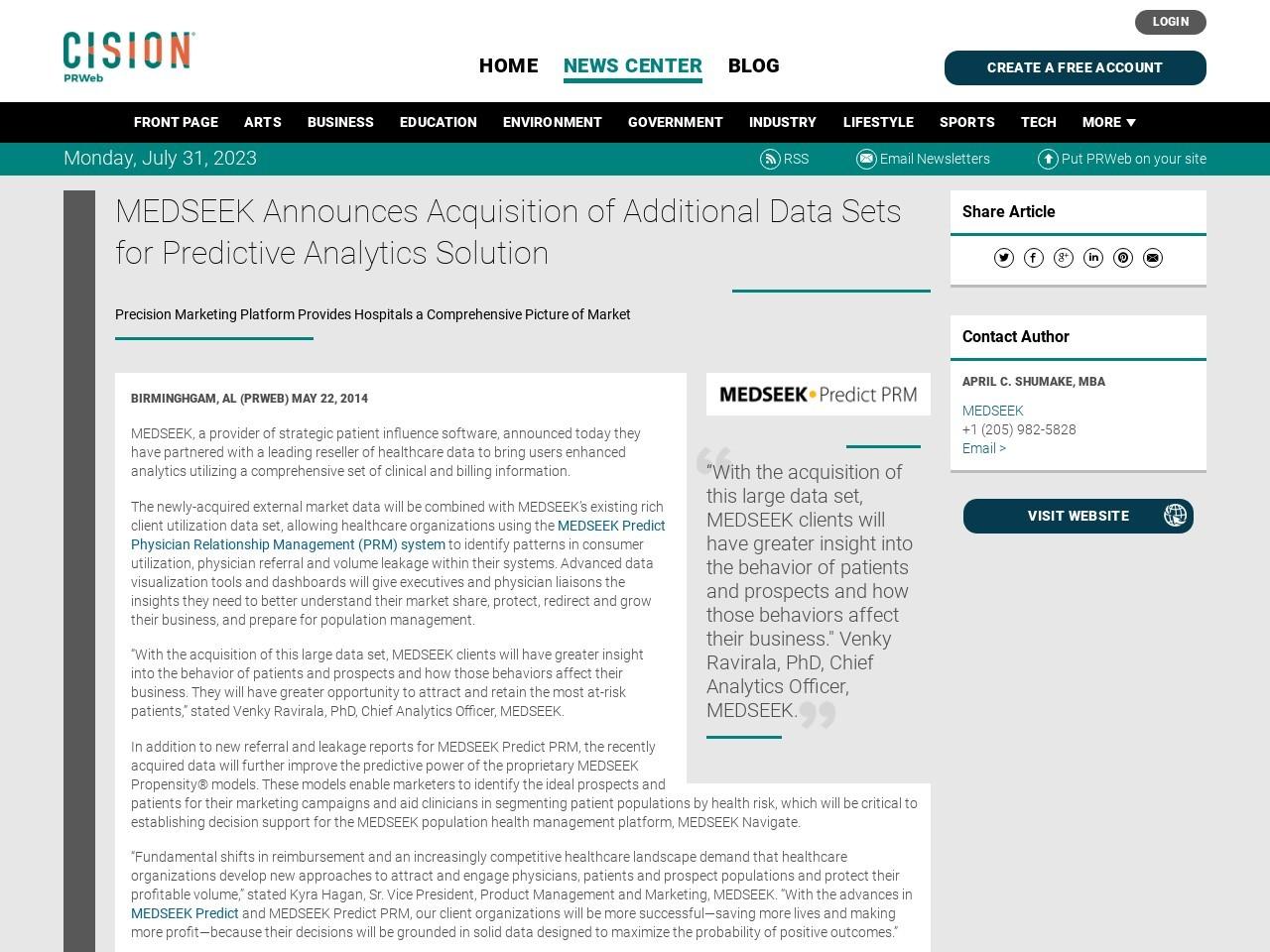 MEDSEEK Announces Acquisition of Additional Data Sets for Predictive …