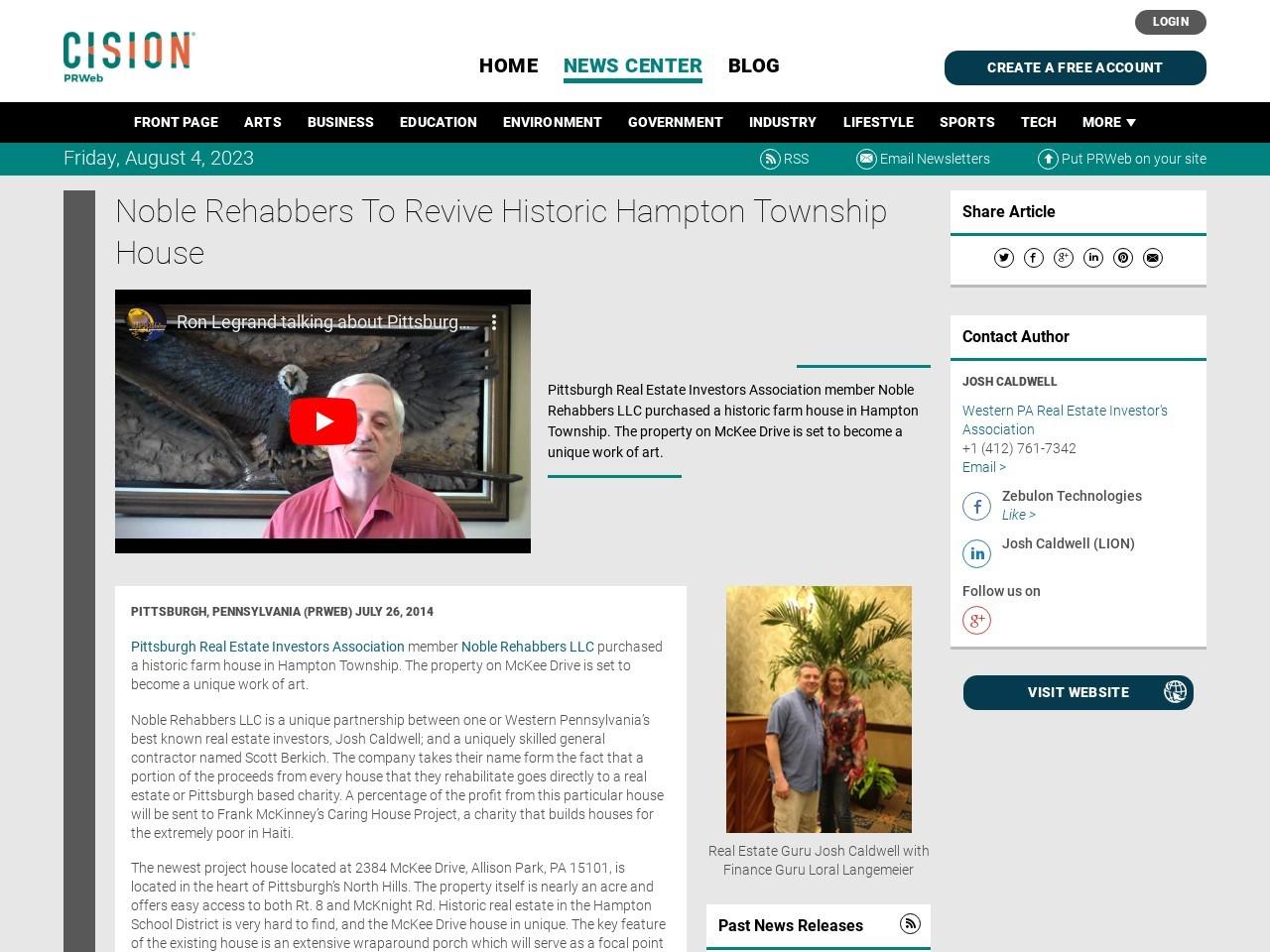 Noble Rehabbers To Revive Historic Hampton Township House