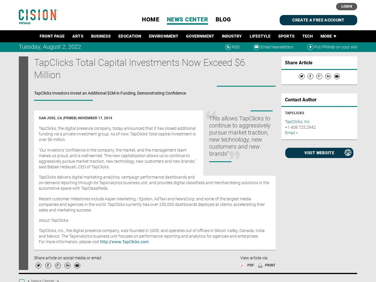TapClicks Total Capital Investments Now Exceed $6 Million