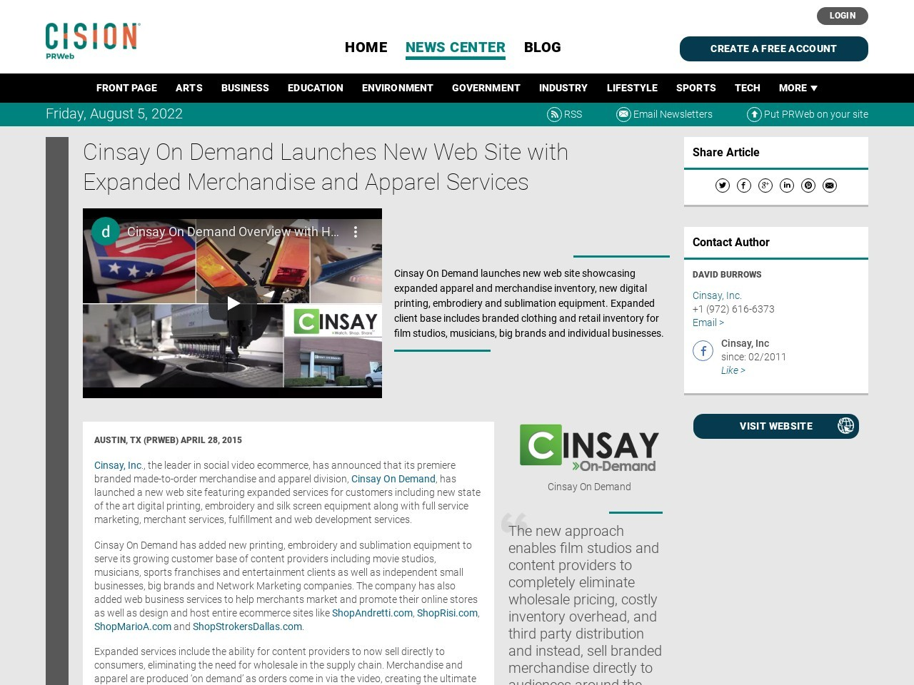 Cinsay On Demand Launches New Web Site with Expanded Merchandise and …