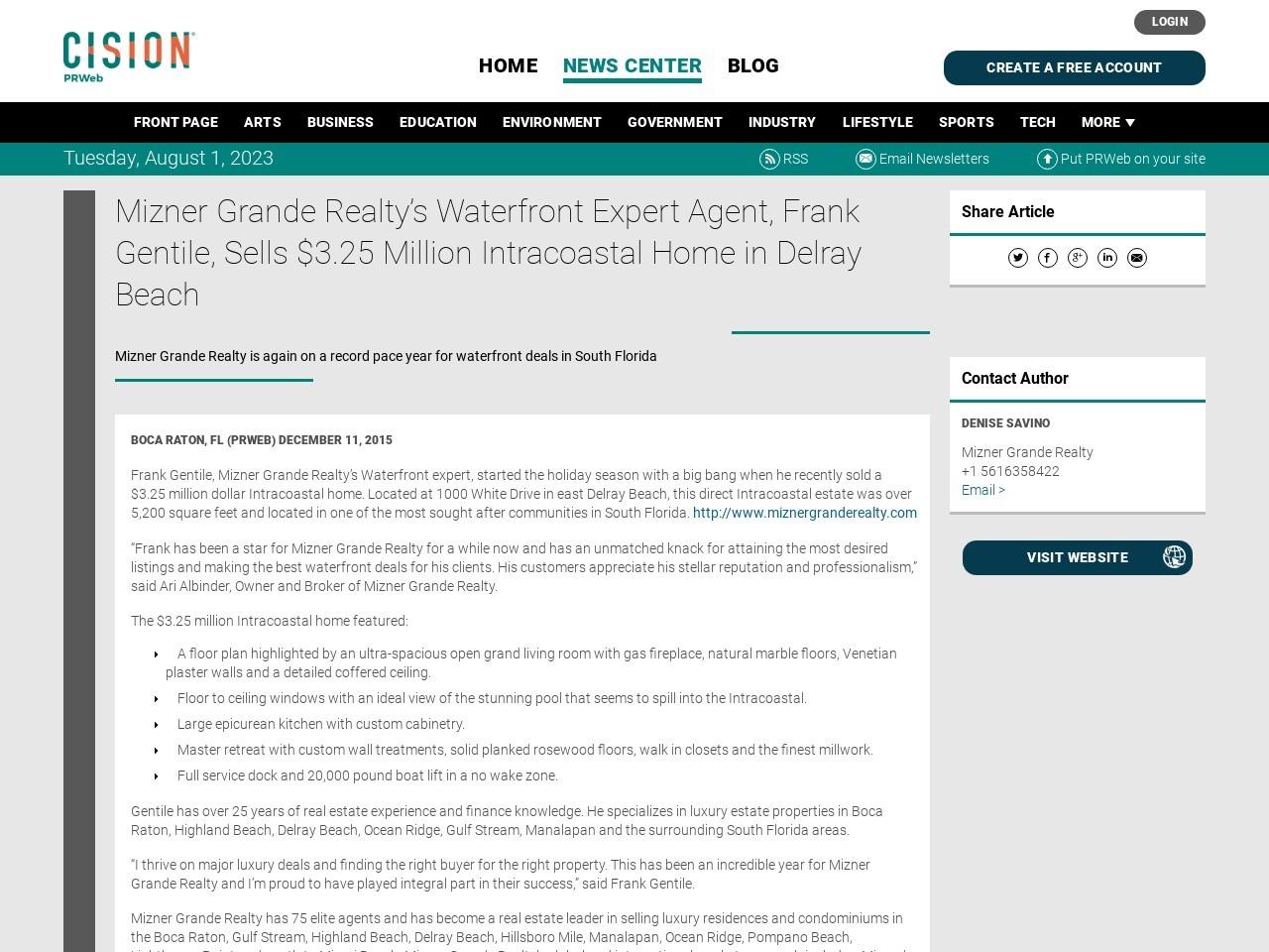 Mizner Grande Realty's Waterfront Expert Agent, Frank Gentile, Sells $3.25 …
