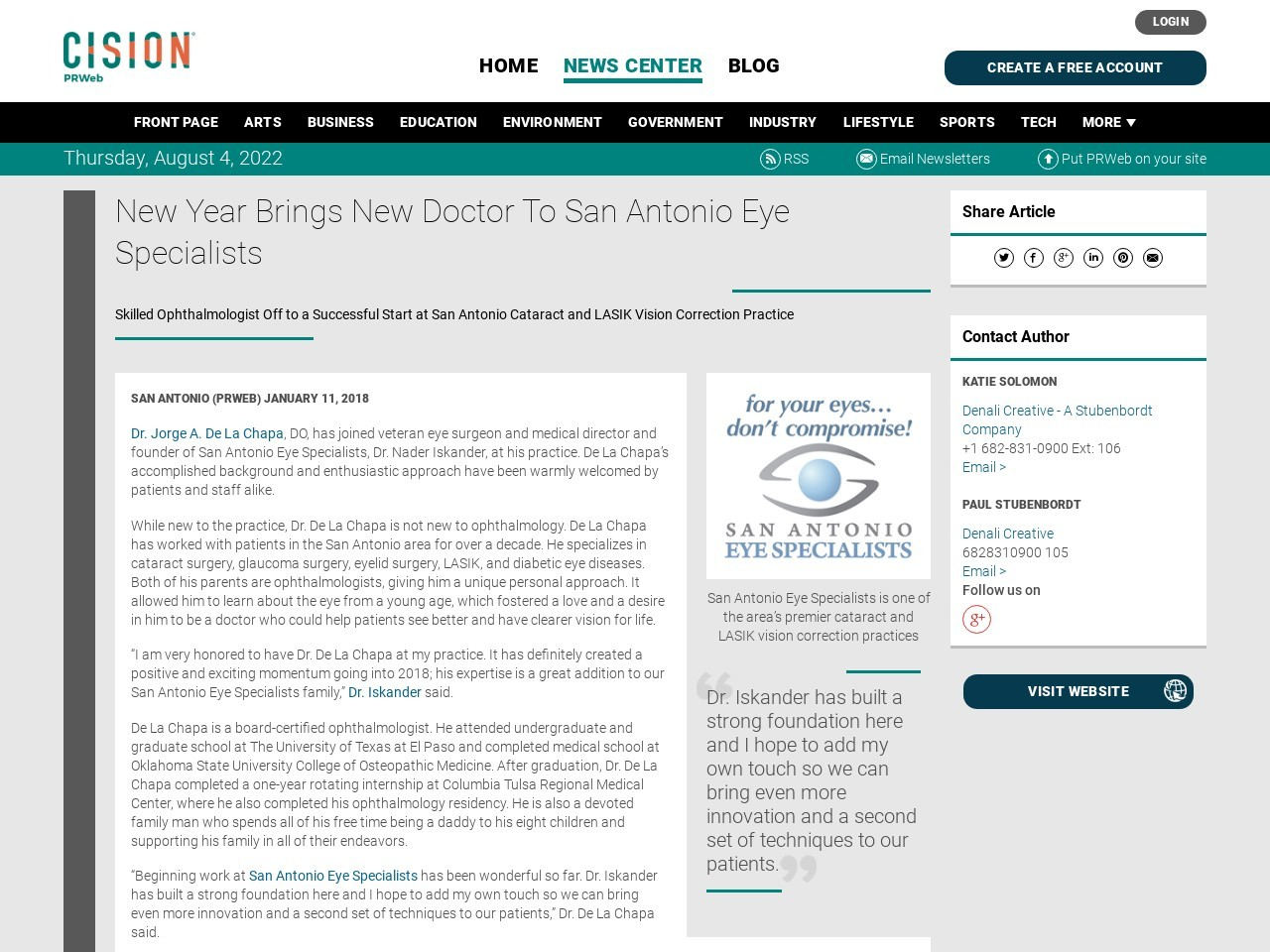 New Year Brings New Doctor To San Antonio Eye Specialists