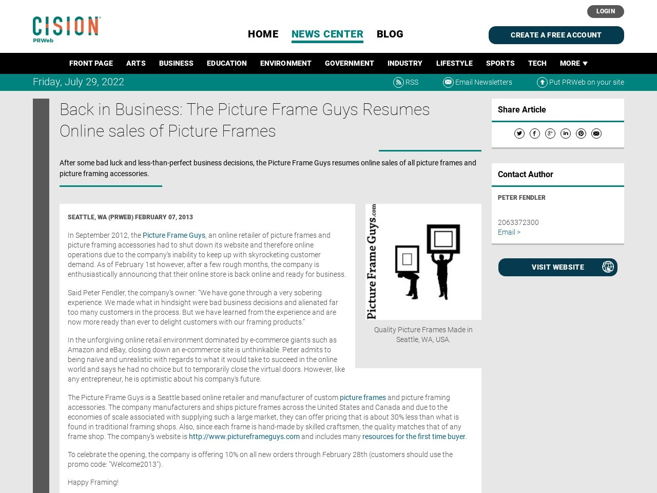 Back in Business: The Picture Frame Guys Resumes Online sales of Picture …