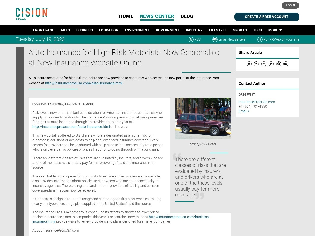 Auto Insurance for High Risk Motorists Now Searchable at New Insurance…