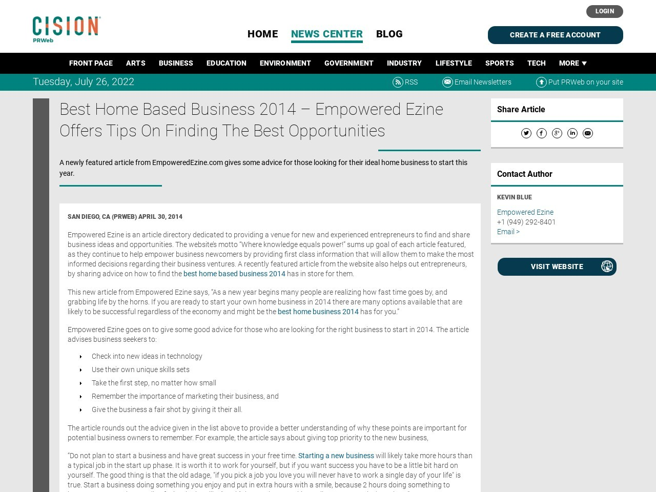 Best Home Based Business 2014 – Empowered Ezine Offers Tips On Finding …