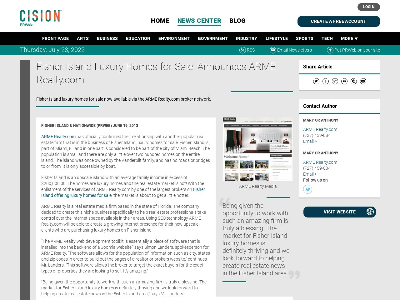 Fisher Island Luxury Homes for Sale, Announces ARME Realty.com