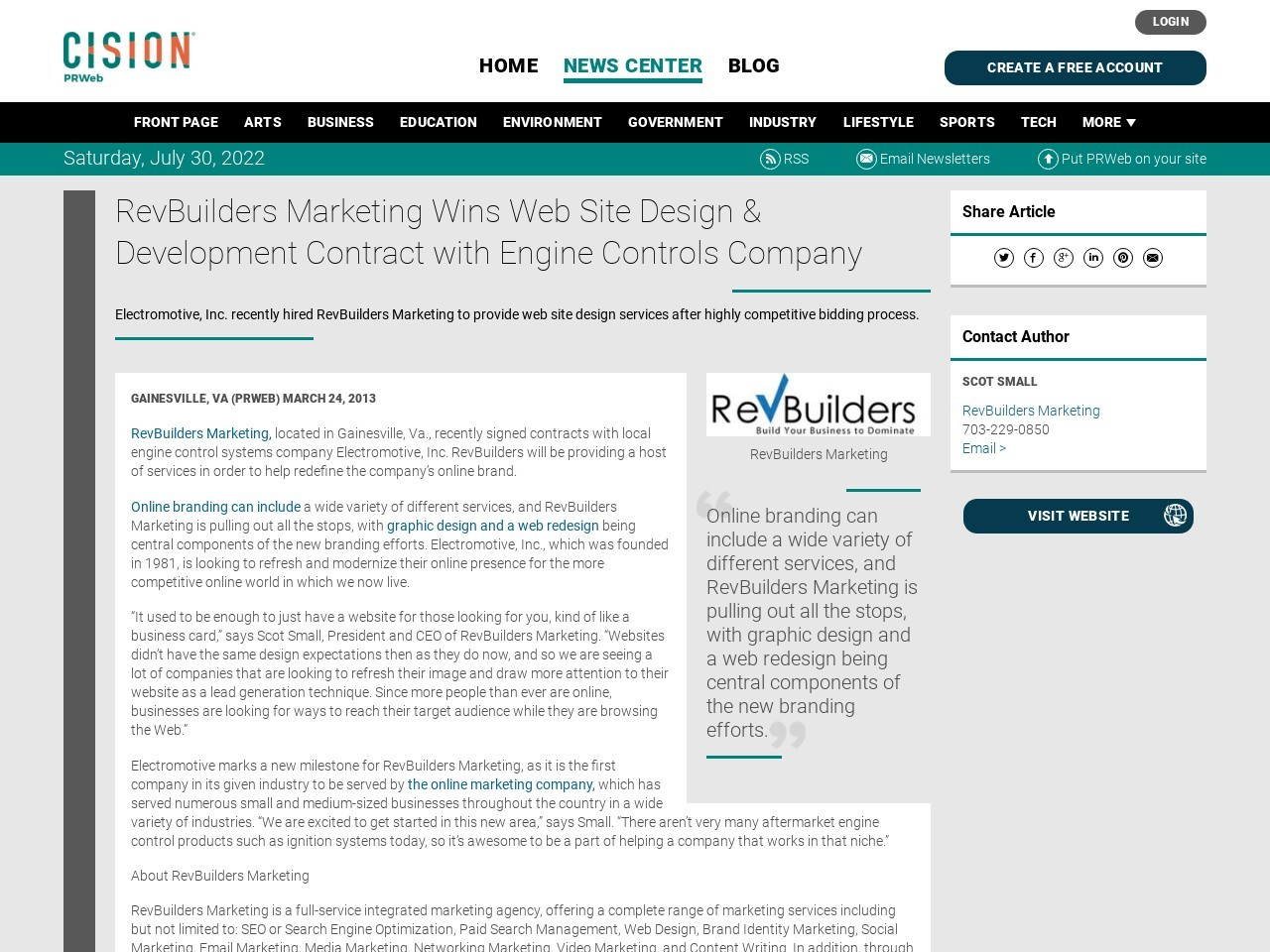 RevBuilders Marketing Wins Web Site Design & Development Contract with …