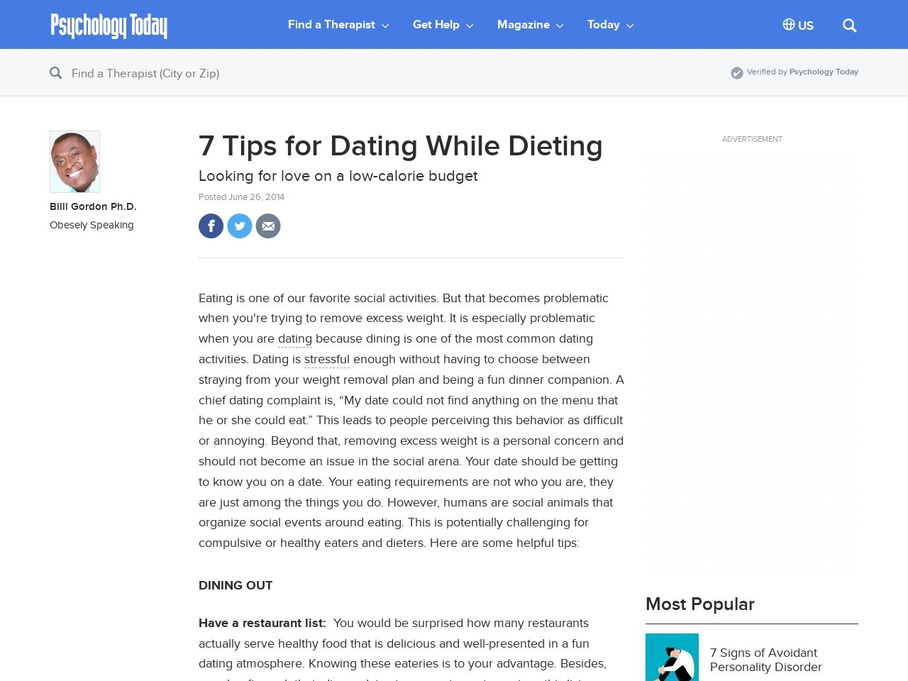 7 Tips for Dating While Dieting | Psychology Today