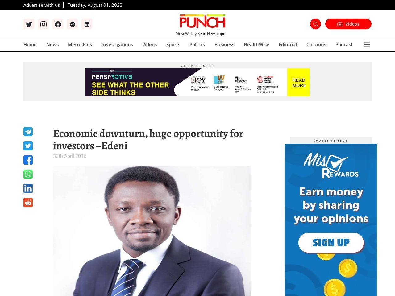 Economic downturn, huge opportunity for investors –Edeni