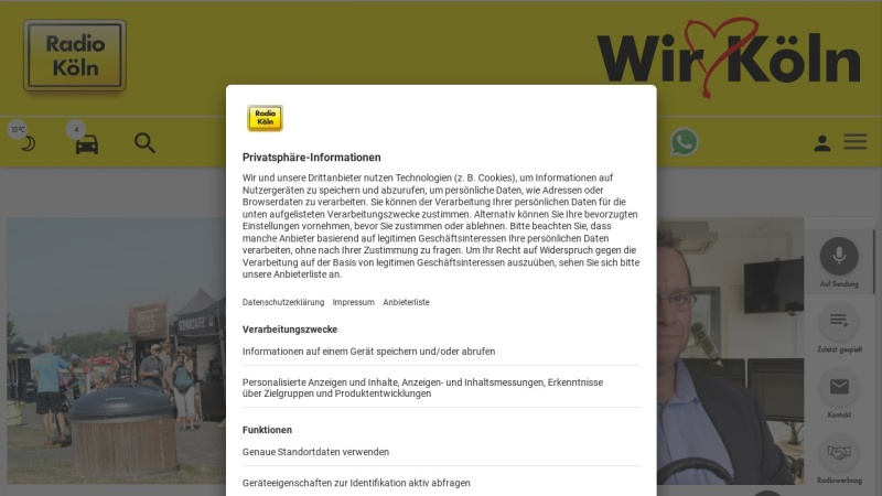 www.radiokoeln.de Vorschau, Radio Köln