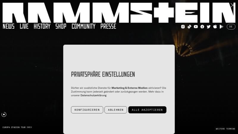 www.rammstein.de Vorschau, Rammstein