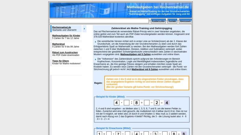 www.rechenraetsel.de Vorschau, Matherätsel