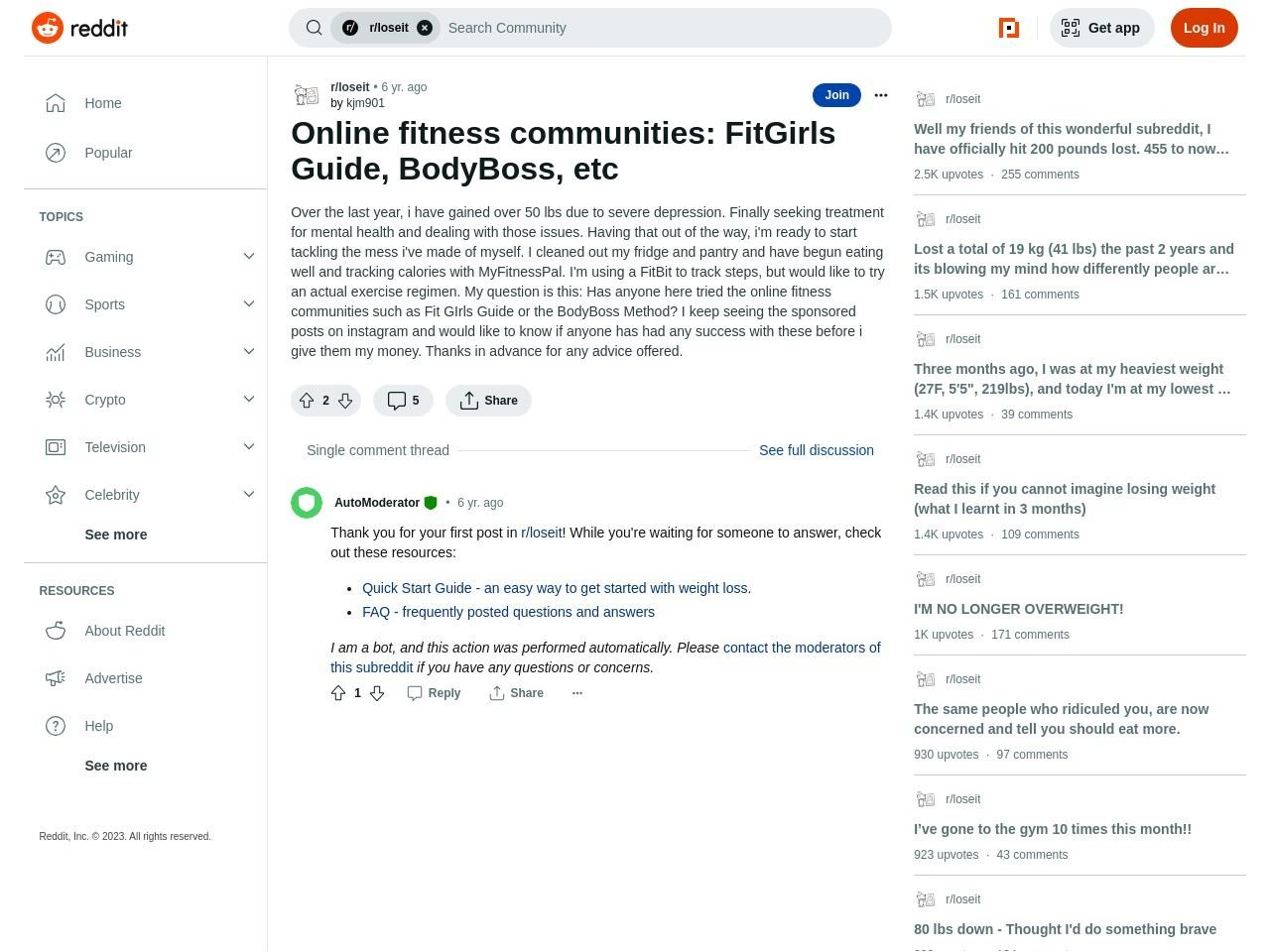 Online fitness communities: FitGirls Information, BodyBoss, etc