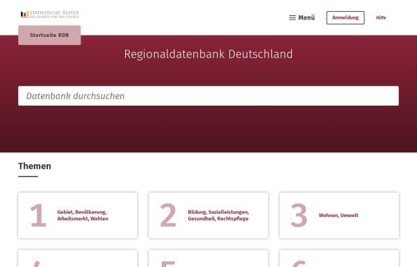 Vorschau von www.regionalstatistik.de, Regionaldatenbank Deutschland