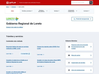 Captura de pantalla para regionloreto.gob.pe