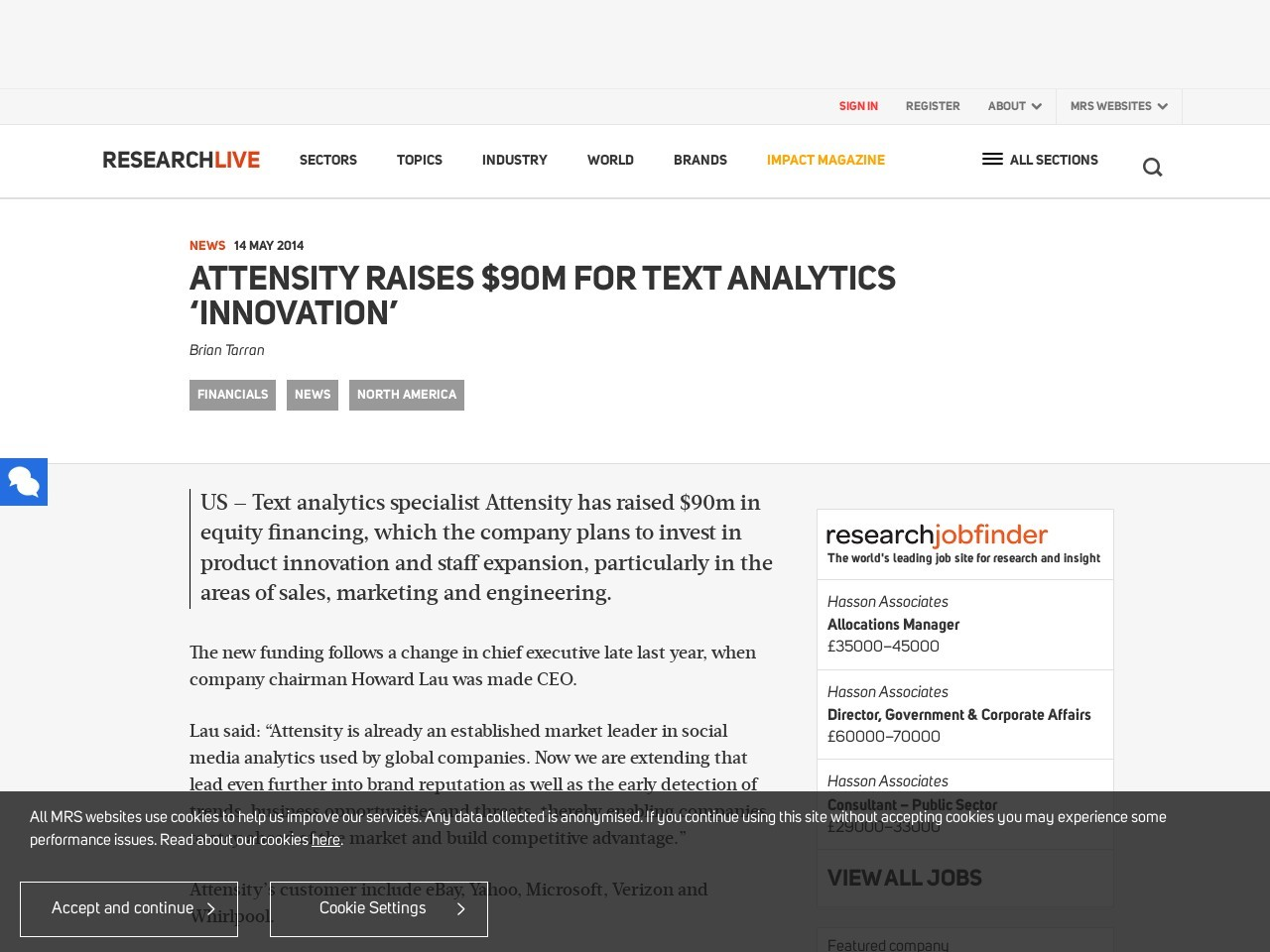 Attensity raises $90m for text analytics 'innovation'