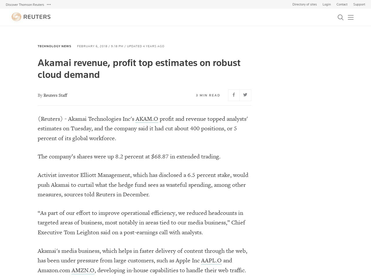 Akamai revenue, profit top estimates on robust cloud demand