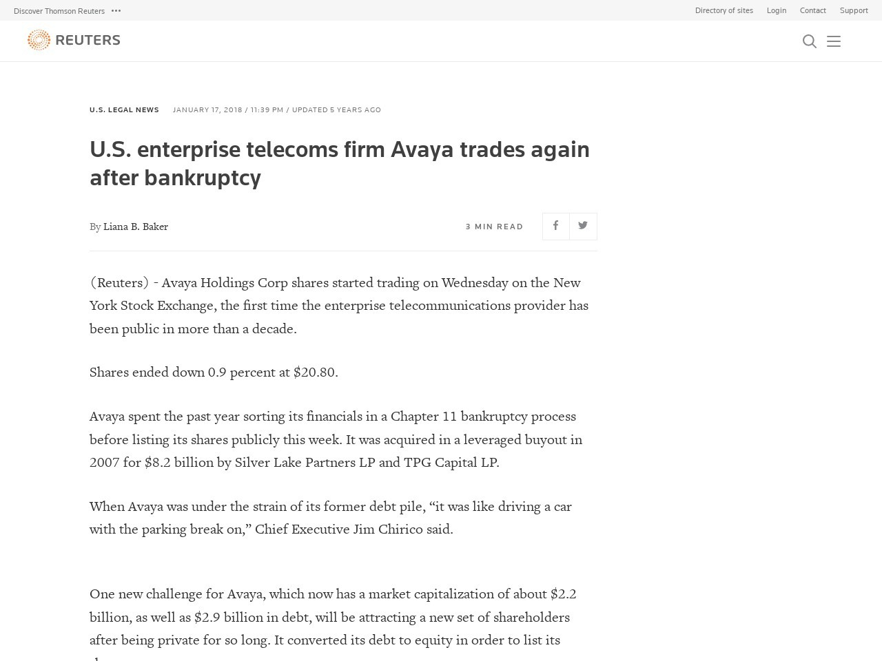 U.S. enterprise telecoms firm Avaya trades again after bankruptcy