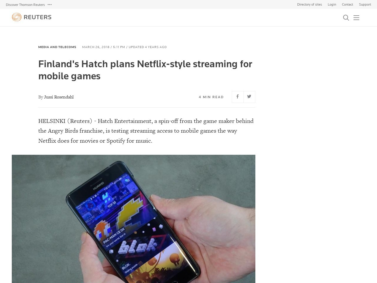 Finland's Hatch plans Netflix-style streaming for mobile games