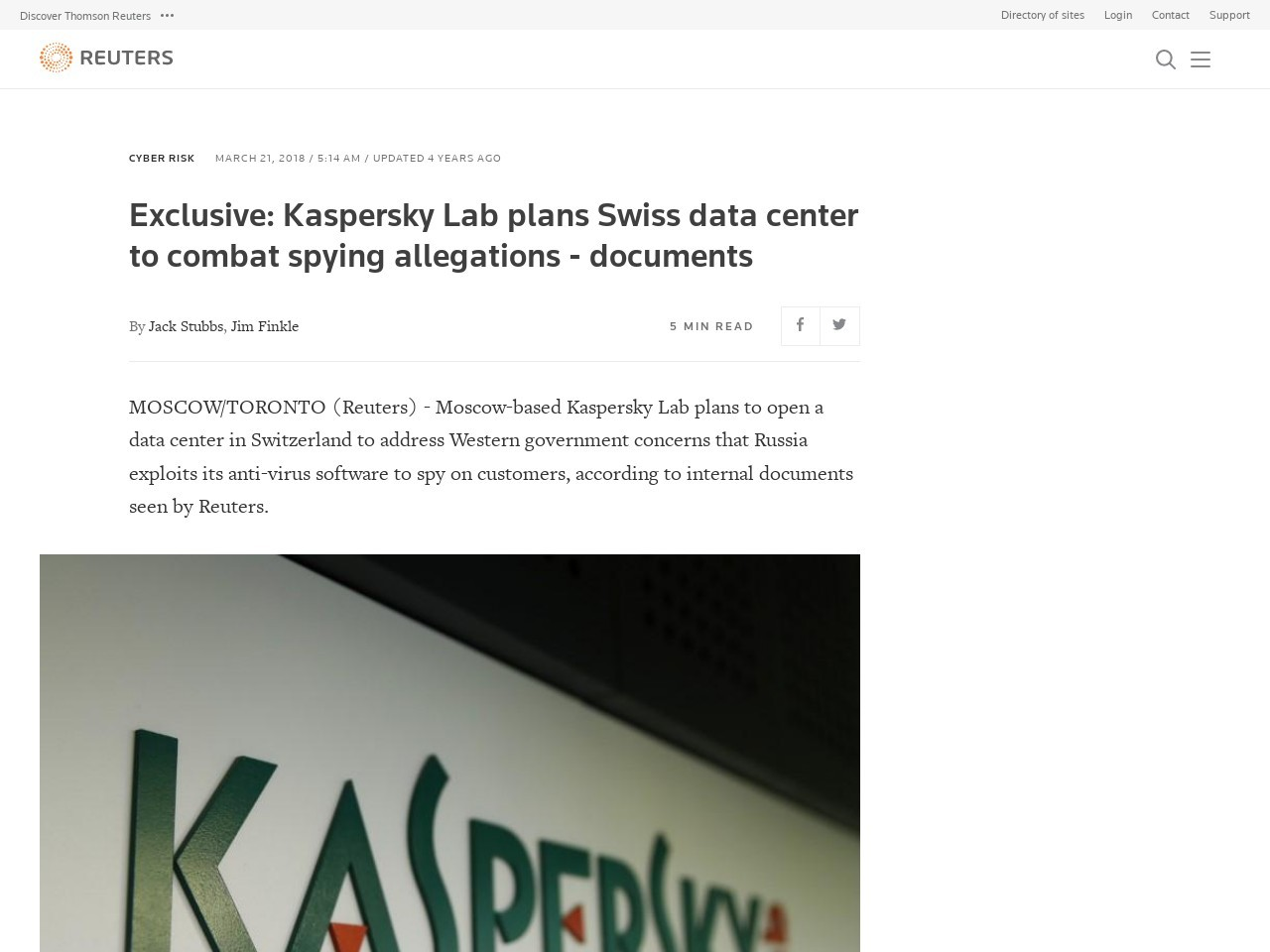 Exclusive: Kaspersky Lab plans Swiss data center to combat spying allegations – documents