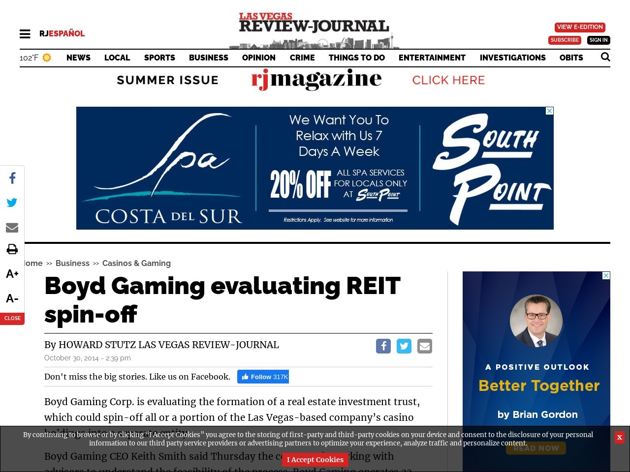 Boyd Gaming evaluating REIT spin-off