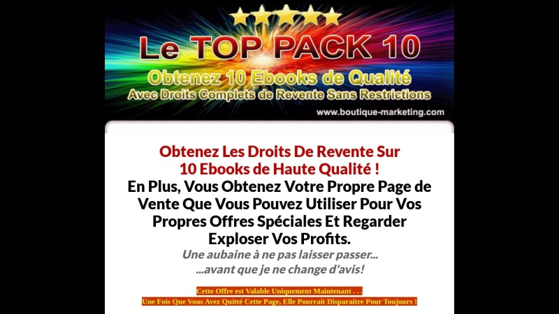 top pack 10 ebooks de qualite + droits de revente