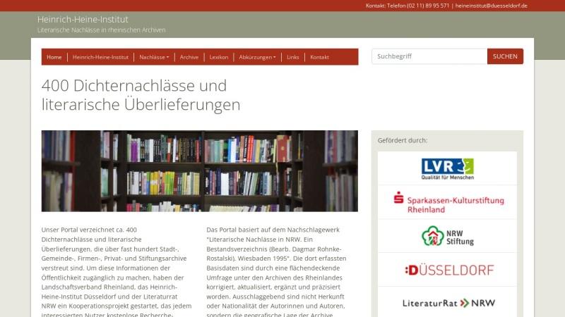 www.rheinische-literaturnachlaesse.de Vorschau, Literarische Nachlässe in rheinischen Archiven