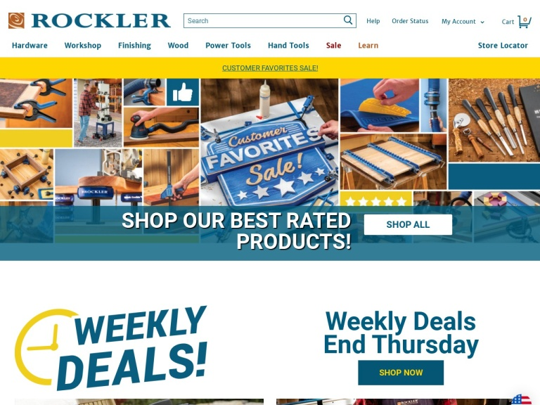 Rockler Woodworking and Hardware screenshot