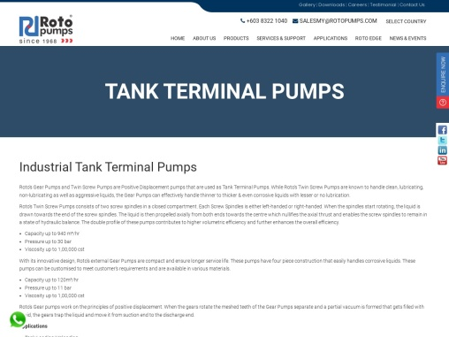 Tank Terminal Pumps for Industrial