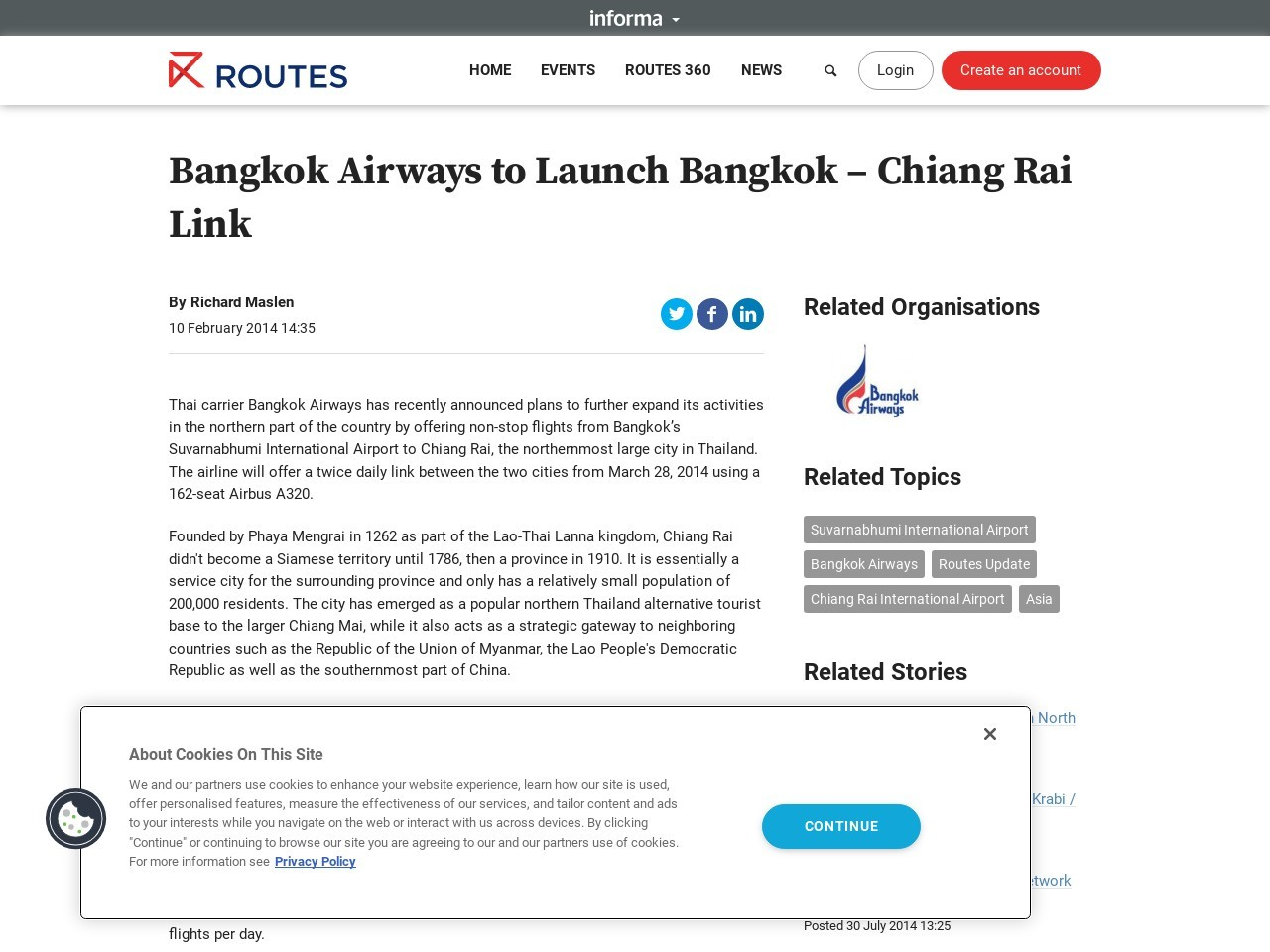 Bangkok Airways to Launch Bangkok – Chiang Rai Link …