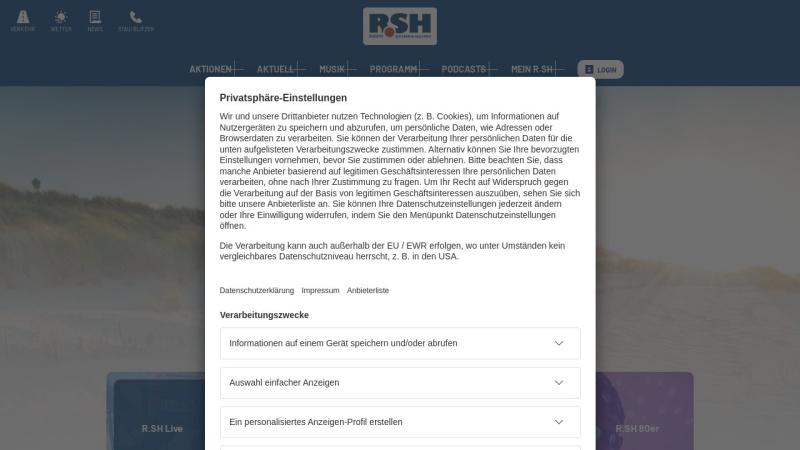 www.rsh.de Vorschau, Radio Schleswig-Holstein