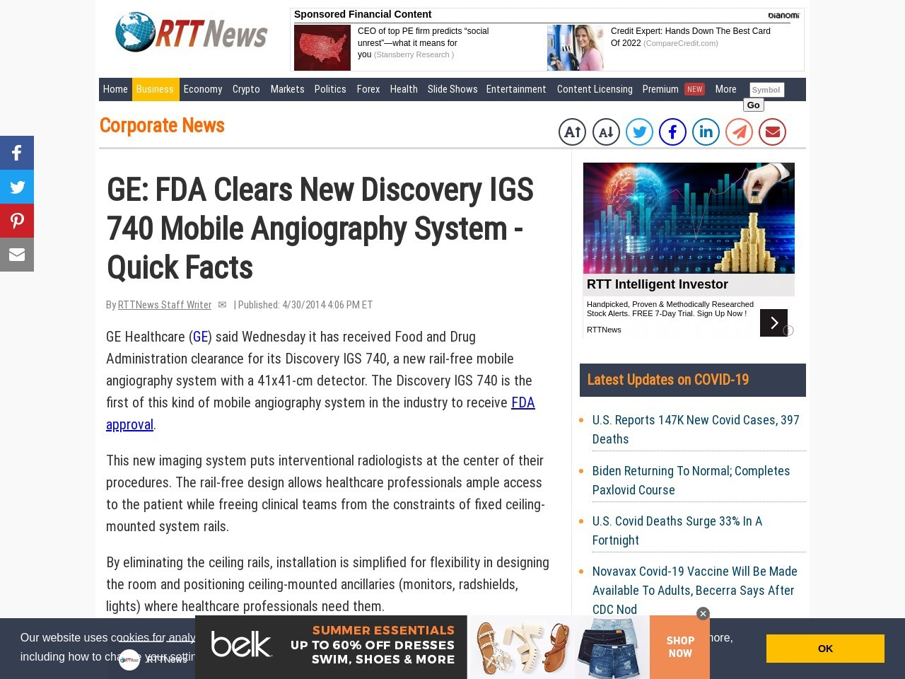 GE: FDA Clears New Discovery IGS 740 Mobile Angiography System – Quick Facts