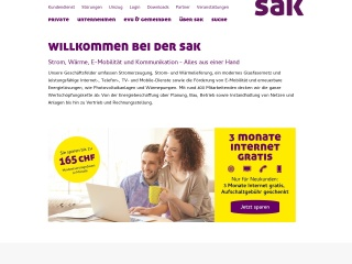 Screenshot der Website saknet.ch