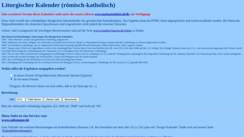 www.salesianer.de Vorschau, Liturgischer Kalender