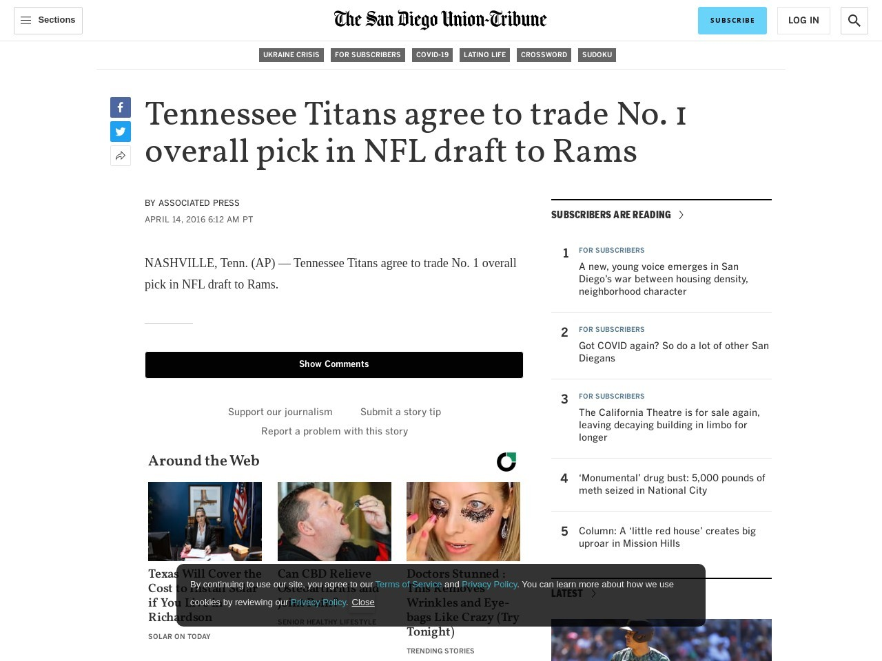 Tennessee Titans agree to trade No. 1 overall pick in NFL draft to Rams