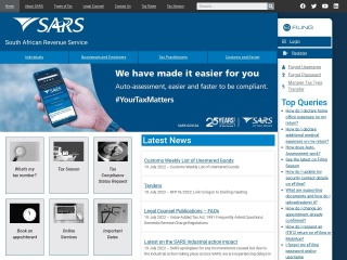 Screenshot for sars.gov.za
