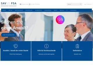 Screenshot der Website sav-fsa.ch