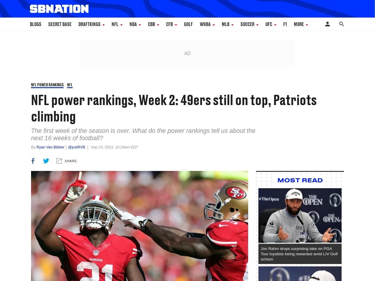 NFL power rankings, Week 2: 49ers still on top, Patriots climbing …