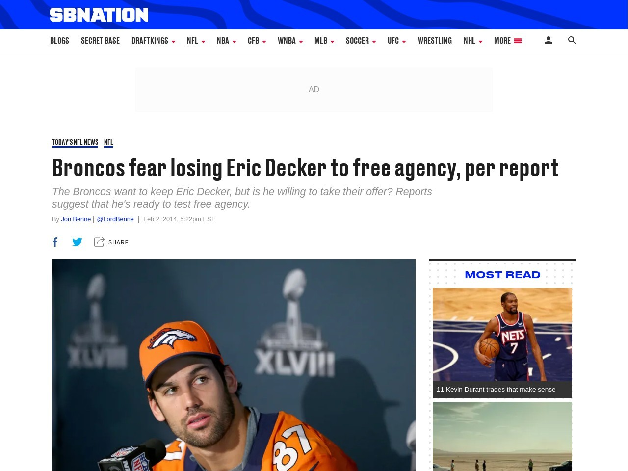 Broncos fear losing Eric Decker to free agency, per report – SB Nation
