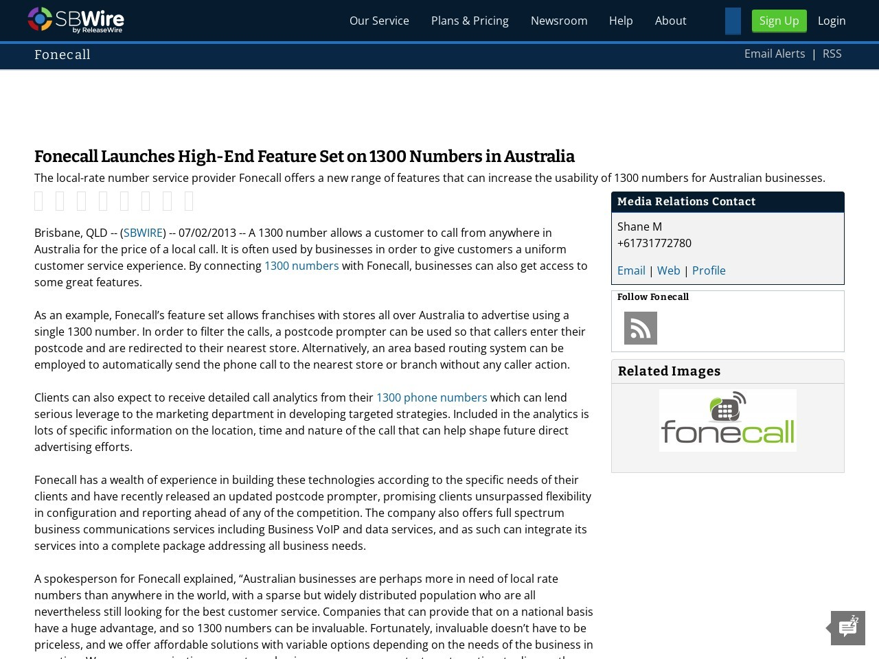 Fonecall Launches High-End Feature Set on 1300 Numbers in Australia