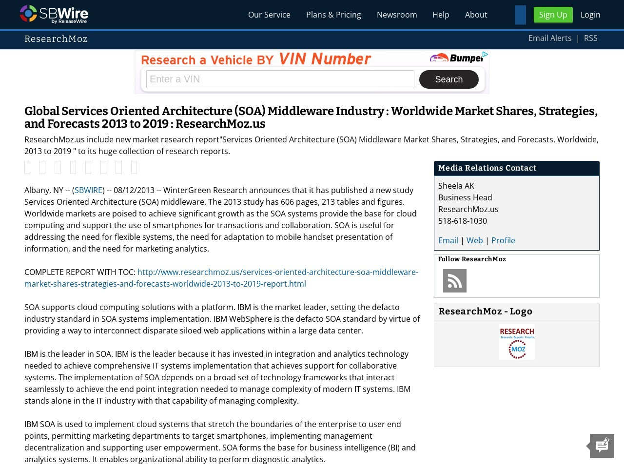 Global Services Oriented Architecture (SOA) Middleware Industry : Worldwide …