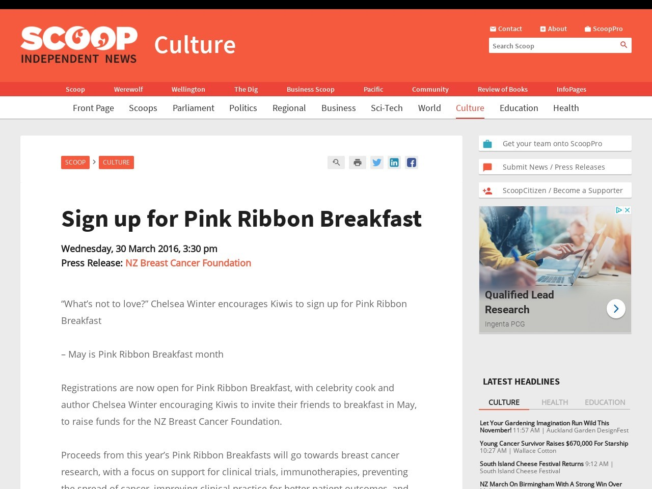Sign up for Pink Ribbon Breakfast