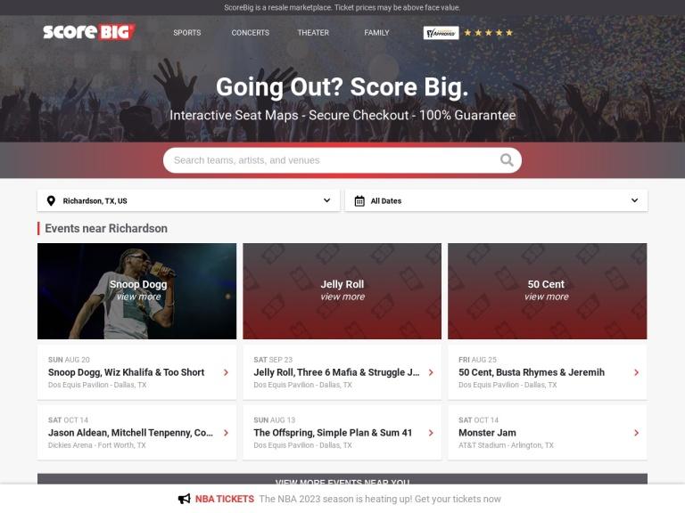 Scorebig.com screenshot