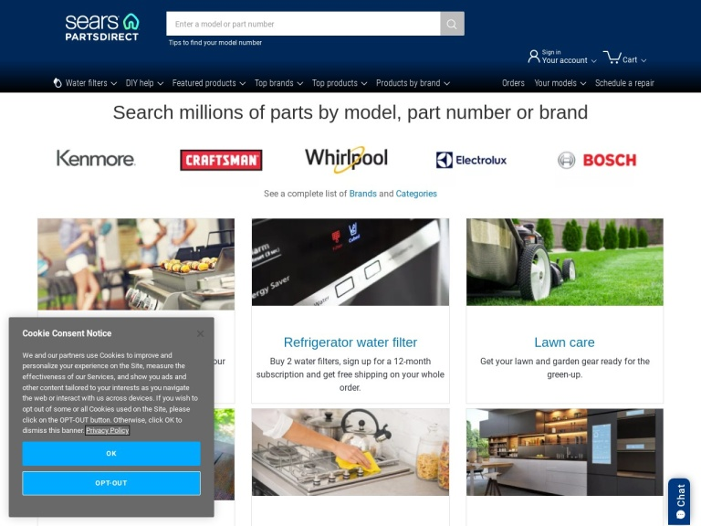 Sears Partsdirect screenshot